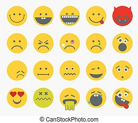 Emoticons, emoji, smiley flat vector set