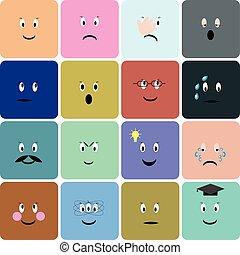 Emoticons, emoji, smiley square icon set.