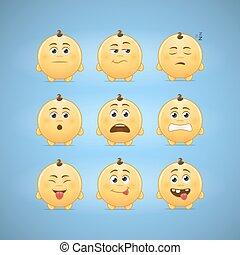 Emoticons - Emojis, second set of cute emoticons. Layered...