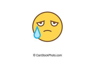 emoticons., emoticon, tears., canal, alpha, triste, animé