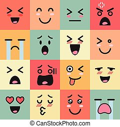 emoticons, ensemble, coloré