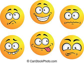 emoticons, ensemble, jaune
