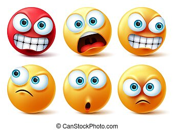 Emoticons face vector set. Emojis yellow icon and emoticon faces with angry red, surprise, cute, crazy.