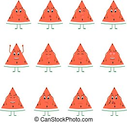 Emoticons fruit vector set. Emoji cute Watermelon with face.