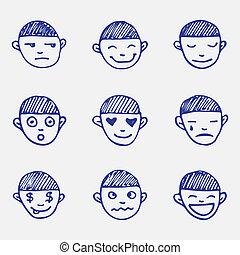emoticons, gekritzel, set., kopf, gefuehle, hand, vektor, jungen, skizze, gezeichnet