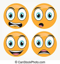 Emoticons icons vector set