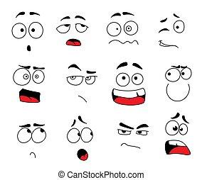 emoticons, jogo, ícones, vetorial, caras, sorrizo, ou, emoji