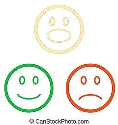 emoticons, jogo, isolado, fundo, sorrizo, branca