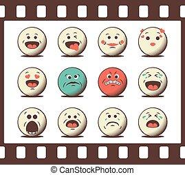 emoticons, jogo, retro, emoji