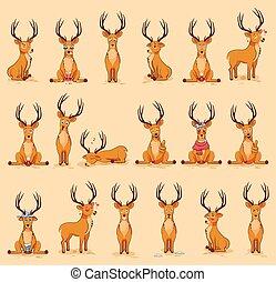emoticons, karakter, hertje, bouwterrein, emoties, vrijstaand, illustraties, emoji, stickers, spotprent, anders