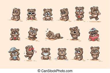 emoticons, karakter, vrijstaand, emoties, anders, beer, stickers, spotprent, emoji