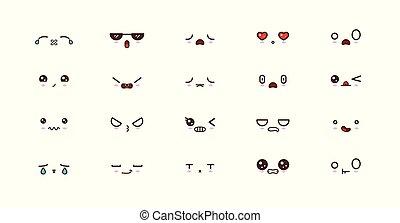 emoticons., kawaii, emoji, caras, sorrizo, cute, japoneses