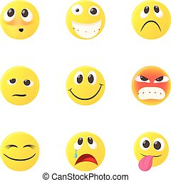 emoticons, kletsende, iconen, set, stijl, spotprent