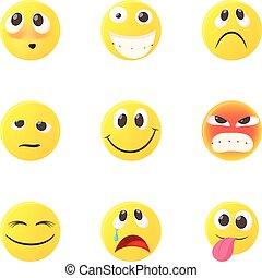 emoticons, kletsende, iconen, set, stijl, spotprent
