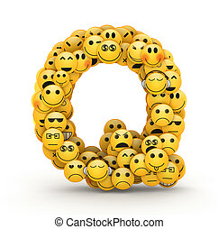 Emoticons letter Q - Letter Q compiled from Emoticons smiles...
