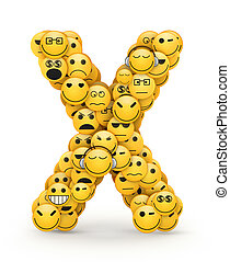 Emoticons letter X - Letter X compiled from Emoticons smiles...