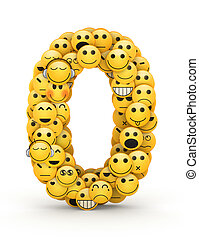 Number 0 compiled from Emoticons smiles with different emotions