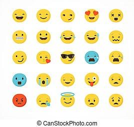 emoticons, plano de fondo, aislado, blanco, conjunto, plano...