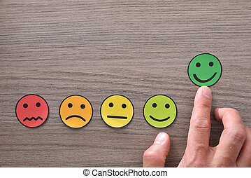 emoticons, pointage, positif, main, satisfaction, représenté, table