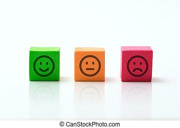 emoticons, positif, icônes, négatif, trois, neutre