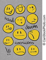 emoticons., set., 手, ベクトル, eps8, drawn.