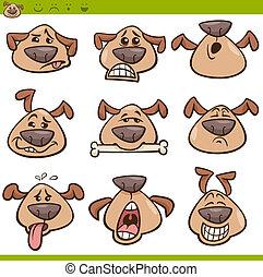 emoticons, set, cane, illustrazione, cartone animato