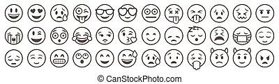 Emoticons set. Emoji faces collection. Emojis flat style. Happy