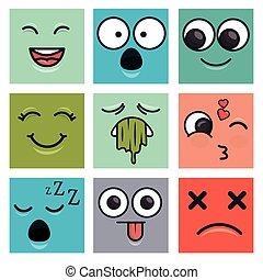 emoticons, set, gezichten