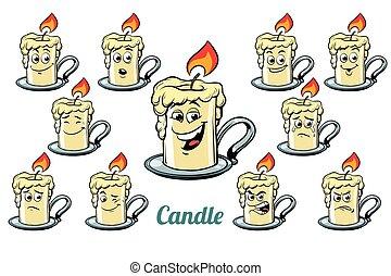 emoticons, set, isolato, emozioni, fondo, candela, bianco
