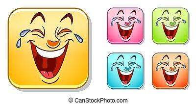 emoticons, skratta, kollektion, lycklig