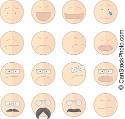 Emoticons smile vector illustration - Set of smiley icons:...
