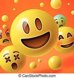 emoticons, smiley, grupo, plano de fondo