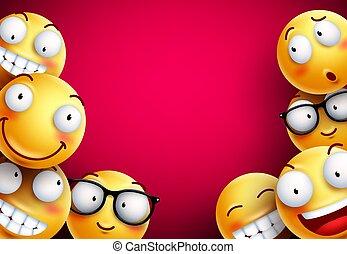 emoticons, smileys, amarela, experiência., vetorial, ou