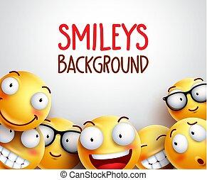 emoticons, smileys, giallo, fondo., vettore, o