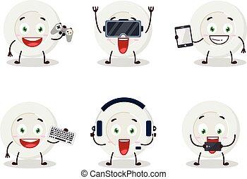 emoticons, spel, olika, tecken, tecknad film, uttryck, söt, tallrik, leka, ilsket