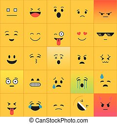 Emoticons vector collection. Different square Emoji