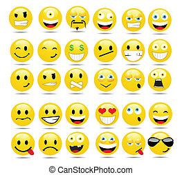 emoticons, vector, conjunto, brillante