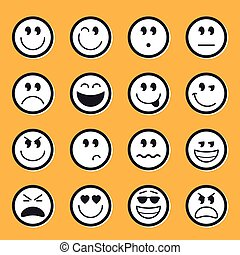 emoticons, vector, liggen