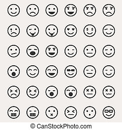 emoticons, vektor, állhatatos