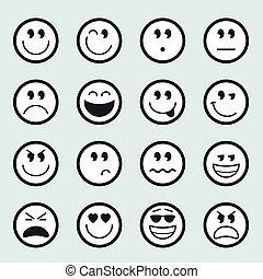 emoticons, vektor, állhatatos, ikonok