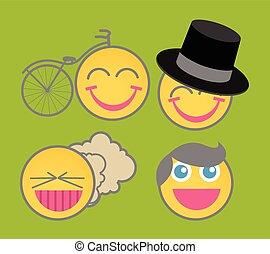 emoticons, vetorial, caricatura