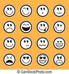 emoticons, vetorial, estoque