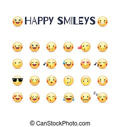 emoticons, vetorial, smileys, collection., amor, set., outros, alegre, face amarela, rir, pictograms, maldoso, alegria, ícone, smileys., feliz, alegre, redondo, emoji