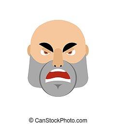 emotie, emoji., boos, mannen, vrijstaand, brutaal, gezicht, agressief, man
