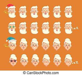 emotie, grootouders, set, vector, illustratie