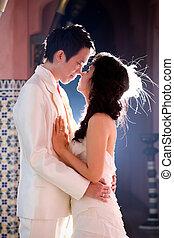 emotie, liefde, romantische, bruidegom, bruid, het poseren