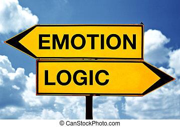 emotie, of, logica, tegenoverstaand, tekens & borden