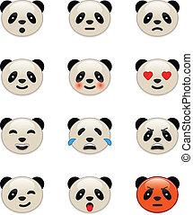 emotie, panda draagt, iconen