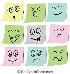 emotie, schets, aantekening, op, papersticker
