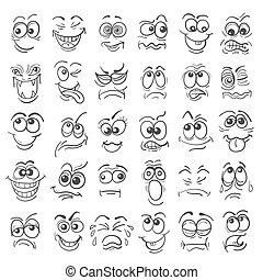 emotie, set, doodle, hand, gezichten, getrokken, spotprent
